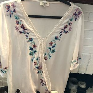 White Wrap Top with Embroidery